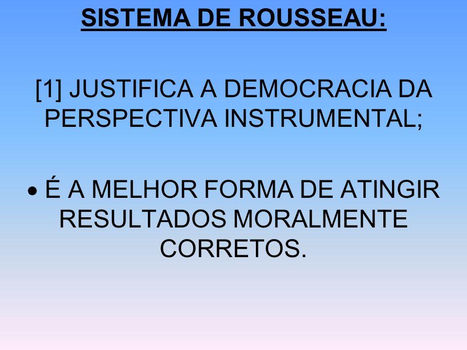 [1] JUSTIFICA A DEMOCRACIA DA PERSPECTIVA INSTRUMENTAL;